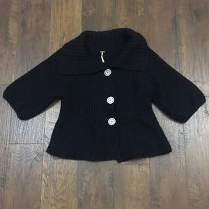 Free People chunky button wool black cardigan